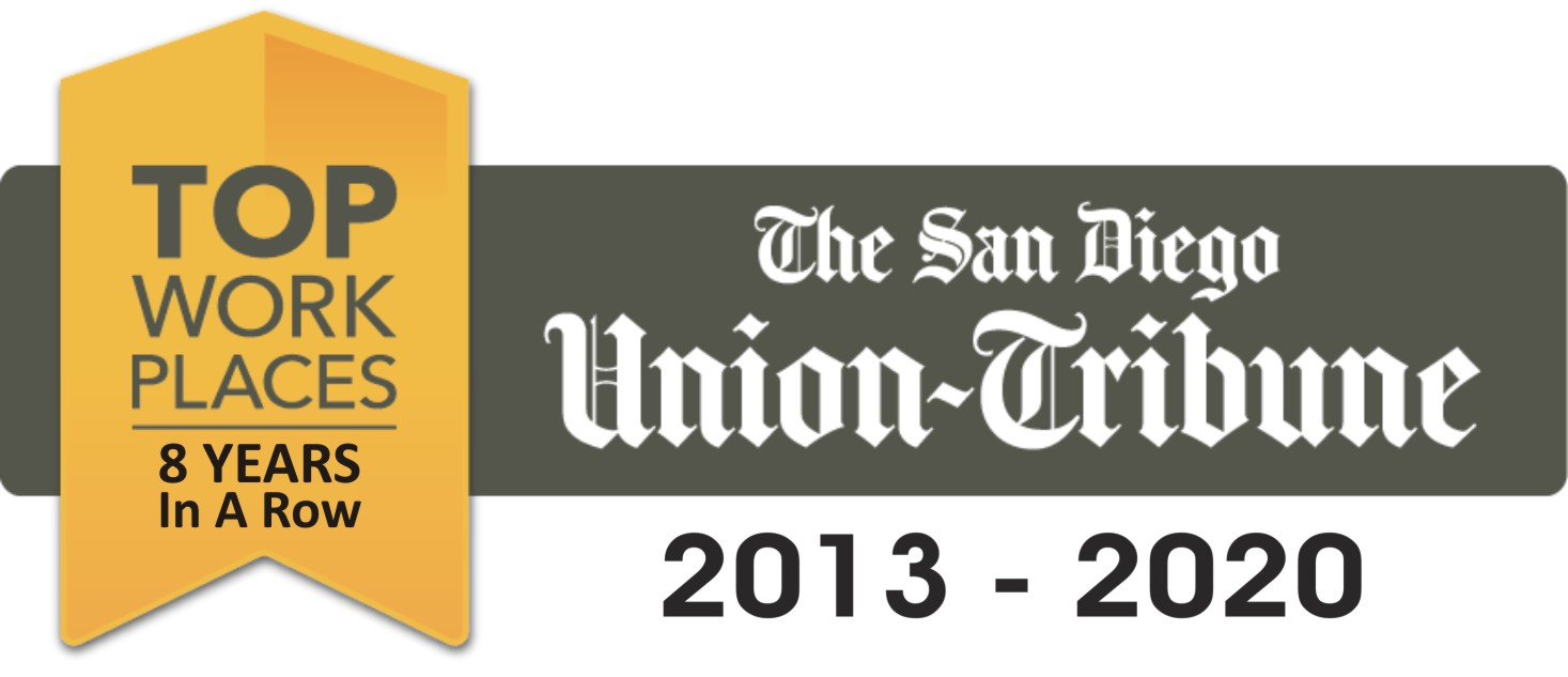 The San Diego Union Tribune: Top Workplace 8 Years in a Row - 2013-2020